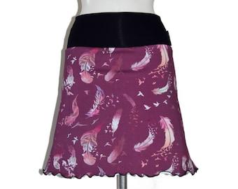 Skirt flared Jersey cotton plum feather