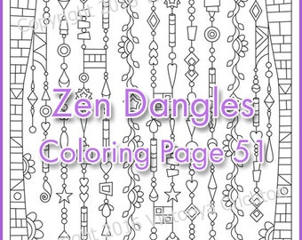 Coloring page zenspirations Zen Dangles, doodle design originals, Intricate Zendoodle, Coloring Patterns, printable art, PDF.