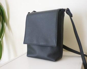Crossbody bag, Mens bag, Messenger bag, Vegan Leather bag, Black men crossbody, Gift For Him, Medium bag
