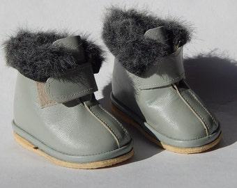 Bambini d'epoca sovietica in pelle stivali russo grigio stivali stivali Baby Retro con lana fodera scarpe