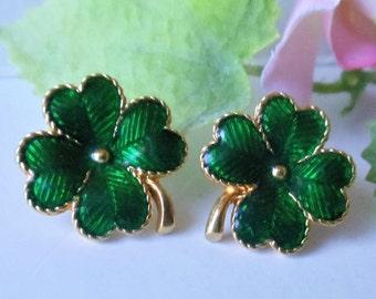 Vintage Shamrock Green Enamel Avon Earrings, St. Patrick's  Four-Leaf Clover Green Enamel Gold Tone Metal Shiny Pierced Avon Earrings, 1990s