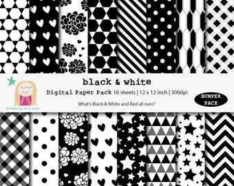 Black White Digital Paper, Black White Scrapbook, Bumper Scrapbook, B&W Digital Paper, Birthday Paper, Instant Download, Comm. Use