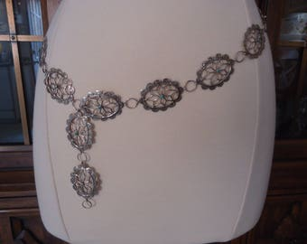 """Vintage Fred Harvey Era Scalloped Sterling Silver Link Concho Belt or Necklace with Turquoise Centers, 34"""" Long, 54 Grams"""