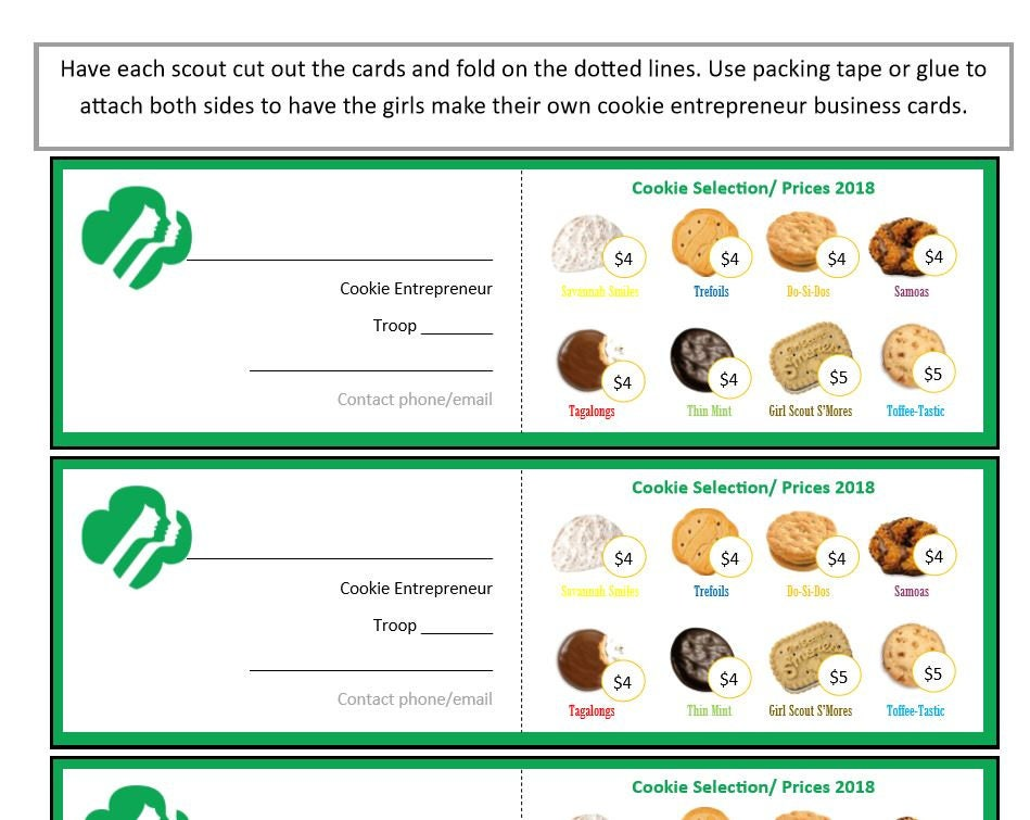 Girl Scout Cookie Program Business Cards 4/5 Pricing