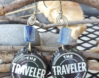 The traveler  beer top  recycled earring on surgical steel hooks, nickel silver wire, with kyanite bead