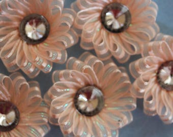 Flower organza Ribbon peach apricot scrapbooking