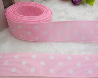 "1"" Pink and White Polka Dot Ribbon by the Yard   V49"