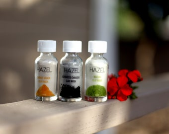HAZEL | Acne Treatment | Activated Charcoal Clay Mask | Green Tea | Carrot Kaolin Facial Mask | Sensitive Skin | Clay Mask |  Powder Kit