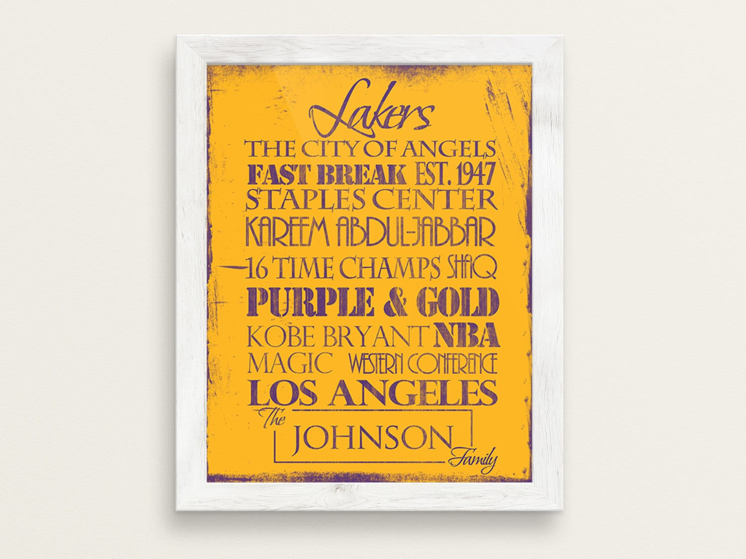 Los Angeles Lakers: Print or Canvas. LA Lakers. Lakers gift.