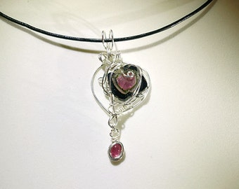 Watermelon and Pink Tourmaline Sterling Silver Pendant (with Certificate)