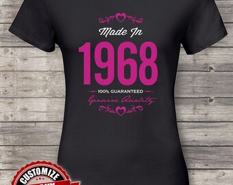 Made in 1968 Guaranteed, 50th birthday gifts for women, 50th birthday gift, 50th birthday tshirt, gift for 50th Birthday Party