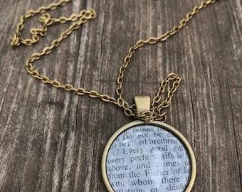 Scripture Necklace James 1:17 Antique Bronze