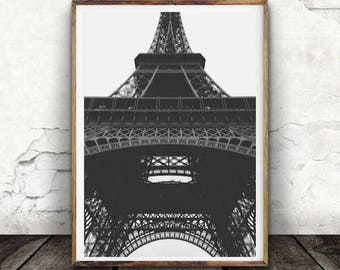 Eiffel Tower, Black and White, Structure, Sky View, Monument, Paris, Digital Print, Digital Download, Architecture, Photography