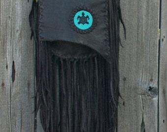 Leather handbag, Artisan crossbody bag with beaded turtle totem , Fringed leather handbag