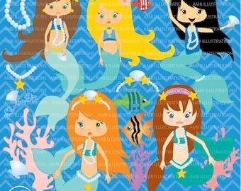 80%OFF Mermaid clipart, commercial use, vector graphics, digital clip art, digital images, AMB-205