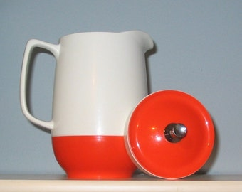Mid Century Modern Insulated Ware Pitcher by Thermos - Orange/White