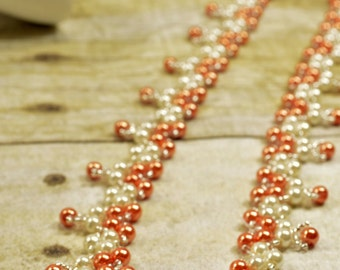Bridesmaids Orange and Ivory Pearl Necklace