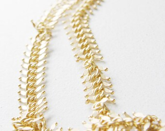 One Foot Matte Gold Plated Brass Chain-Fish Bone 14mm (417C06)