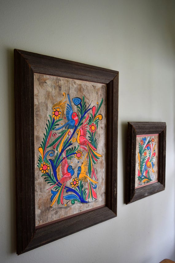Two Framed Vintage Original Mexican Amate Bark Paintings / Artwork ~ Boho, Southwestern, Natural, Folk Art