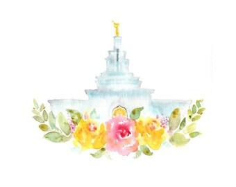 Columbia River LDS Watercolor Temple Print