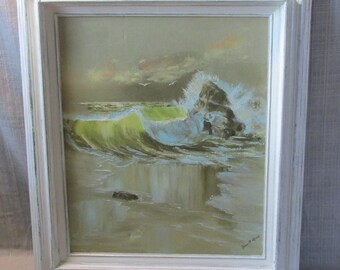 Large, Oil on Canvas,  Sea Side, Ocean Shore Waves, original painting,  Beach Cottage, Solid Wood Frame