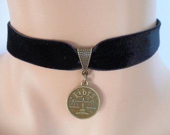 velvet choker, libra choker, libra necklace, stretch ribbon, black velvet, star sign, zodiac charm