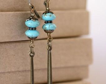 Turquoise Long Antiqued Brass Dangling Bar Boho Style Earrings