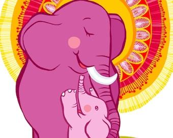 Elephant Baby Love print