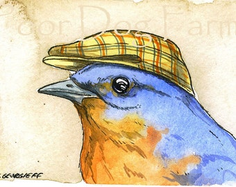ACEO signed PRINT - Bluebird with hat-