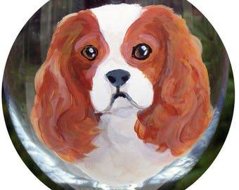 Custom Hand Painted Wine Glass ~ Cavalier King Charles Spaniel ~ Pet Keepsake ~ Anniversary Gift ~ April Birthday