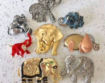 Jewelry Lot Vintage Elephant Brooch Pins Collection of 8 Pieces Fashion Figural Jewelry Accessories