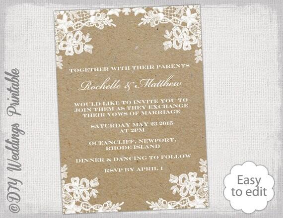 Rustic Wedding invitation template DIY Rustic Lace