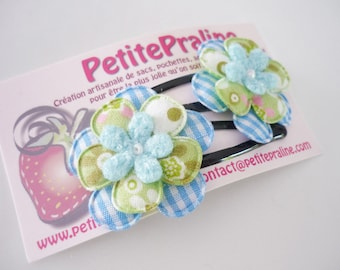 Green and Blue flower - Hair clips barrettes - soft fabric