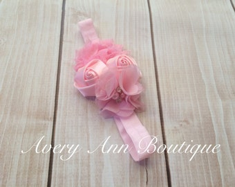 Pink Headband, Flower Girl Headband, Baby Pink Headband, Newborn Pink Headband, Flower Headband, Holiday Headband, First Birthday