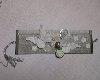 Wedding bridal silver linen and white Cuff Bracelet
