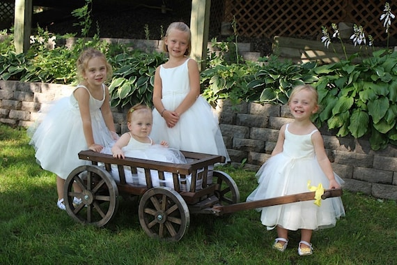 Medium Flower Girl Wedding Wagon Stained Dark or Light Brown