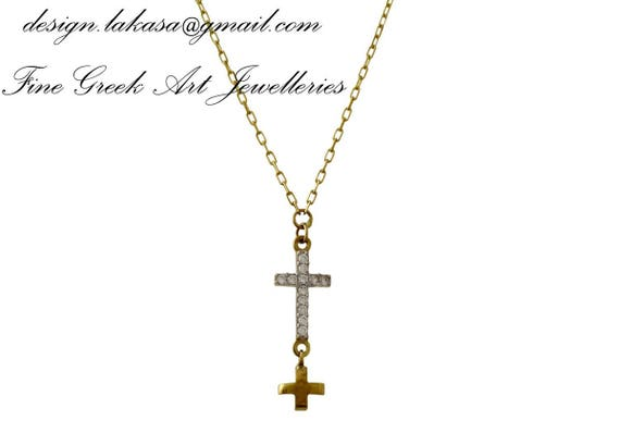 Double Cross Sterling Silver Gold plated Jewelry Necklace Chain Rhinestones Crystals Gift ideas Woman Birthday Newborn Baby Girl Boy Unisex