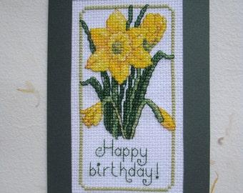 Handmade Cross Stitched Birthday Greetings Postcard Happy Birthday | Embroidery Spring Postcard | Needlework Daffodil Postcard