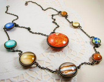 Solar system necklace with Sun, Statement layered necklace, Planet necklace, Space jewelry, Universe, Unique jewelry, Double sided glass