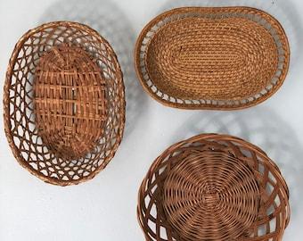 Set of 3 Vintage Woven Baskets