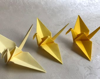 100 Origami Cranes - German Paper - Yellow