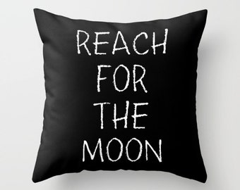Black and White Pillow - Reach For The Moon - Kids Pillows - Modern Decorative Pillows - Velveteen Pillow Cover - Modern Kids Decor - Gifts