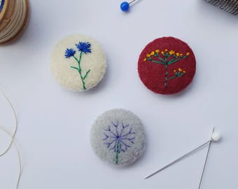 flower badge set - hand embroidered cornflower allium and fennel pin badges - recycled felt - botancial accessory