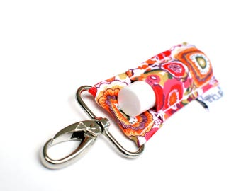 LippyClip® Lip Balm Holder for Chapstick, Burt's Bees, etc. |  Clip-On Keychain | Pink and Orange Floral