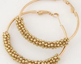 Hoop Earrings w/Mini Beads - Gold/Gold