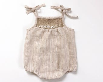 girls gold sequin detail linen romper