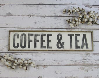 Coffee Sign, Coffee Bar Sign, Coffee and Tea, Farmhouse Decor, Wood Coffee Sign, Custom Wood Sign, Framed Wood Sign, Vertical Sign