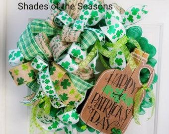 Saint Patrick's, Saint Patrick's Day Wreath, Irish Wreath, Saint Pattys Day Wreath, Saint Patrick's Ribbon, Saint Patrick's Door Wreath