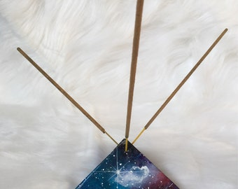 Mini cosmic pyramid incense holder. Space incense holder. Galactic incense holder. Pyramid incense holder.