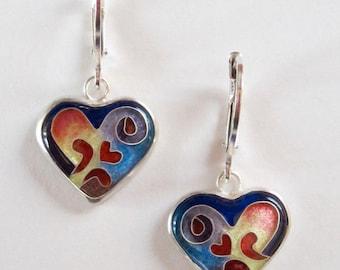 Red Heart Ear Wires - cloisonne' heart earrings - enamel earrings - red & blue earrings - Made to order